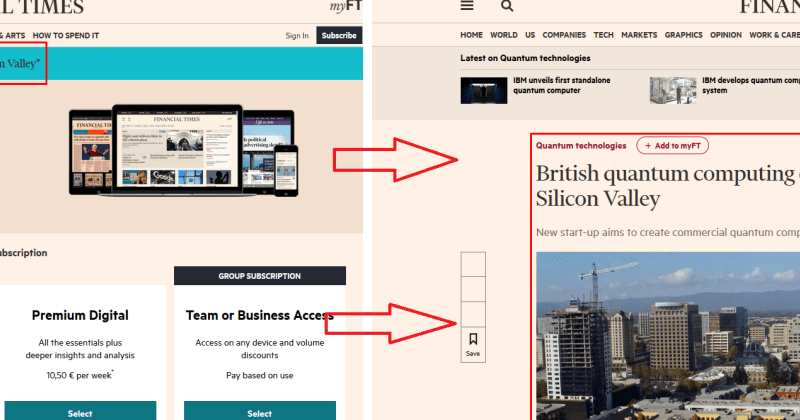 Circumventing of FT's paywall